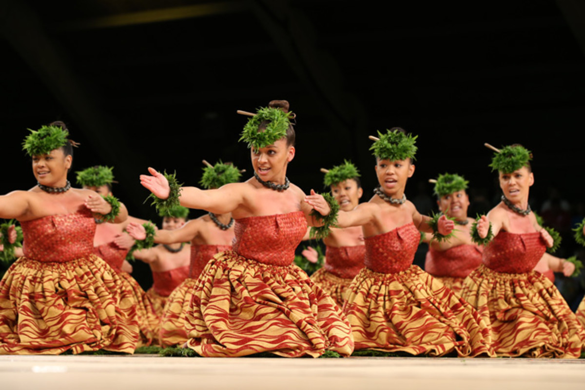 Hula schools (known as halau) dance each year at the Merrie Monarch Hula Festival in Hilo.