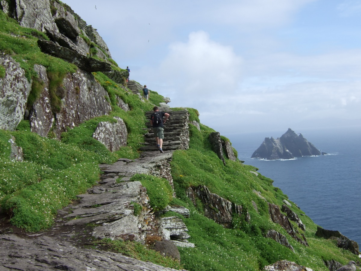 Skellig Michael (Great Skellig) island with the Little Skellig in the background. These were filming locations for Star Wars: The Force Awakens and Star Wars: The Last Jedi
