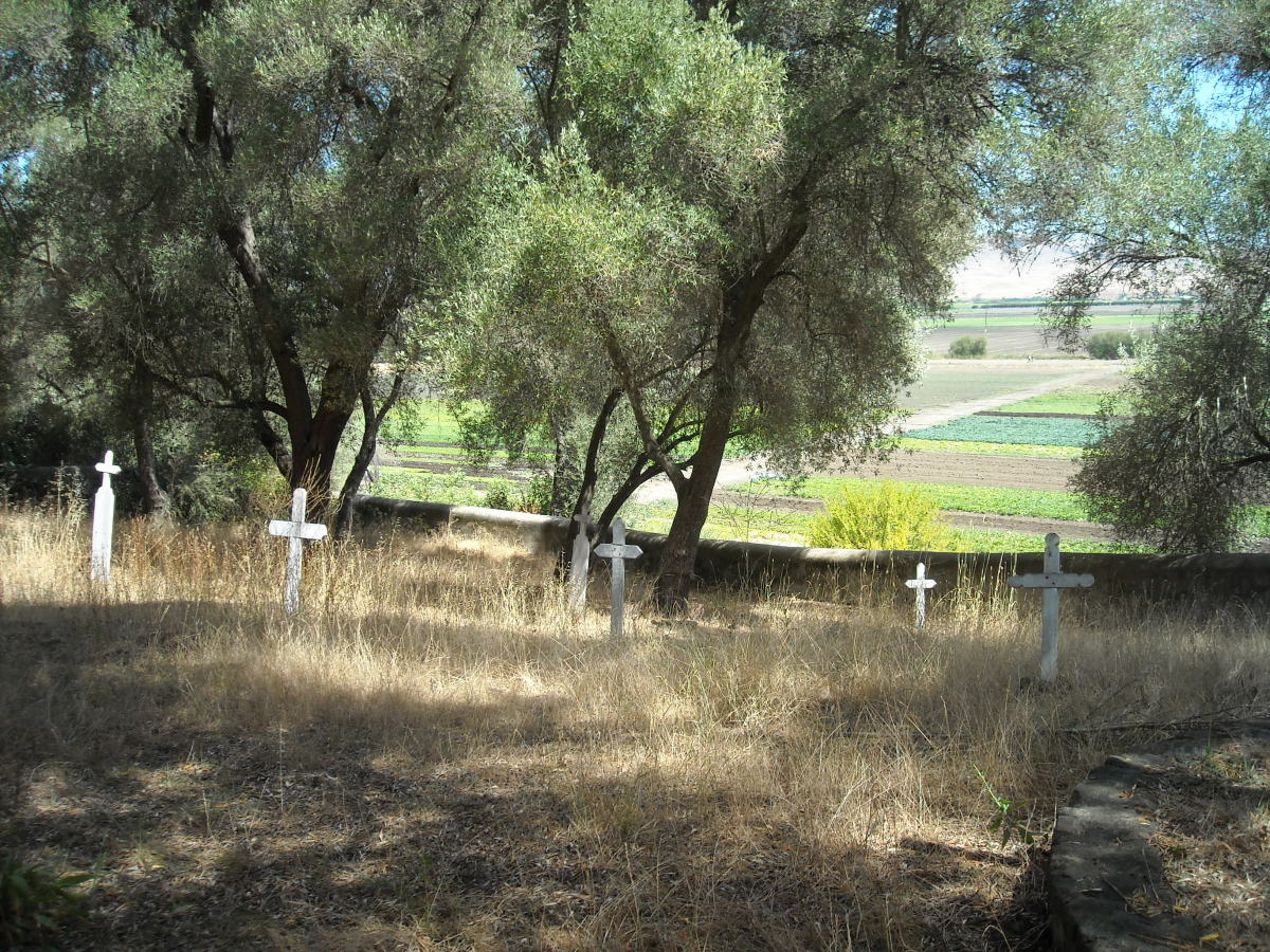 The old graveyard overlooks valley fields, beyond the San Andreas earthquake fault.
