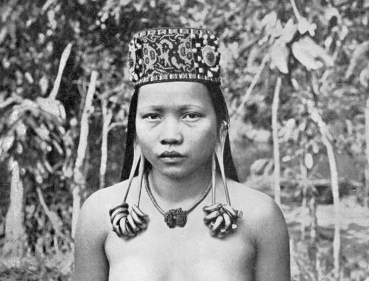 A Sarawak native girl with stretched earlobes