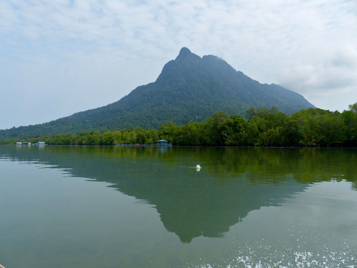 View of Mount Santubong from Santubong River.