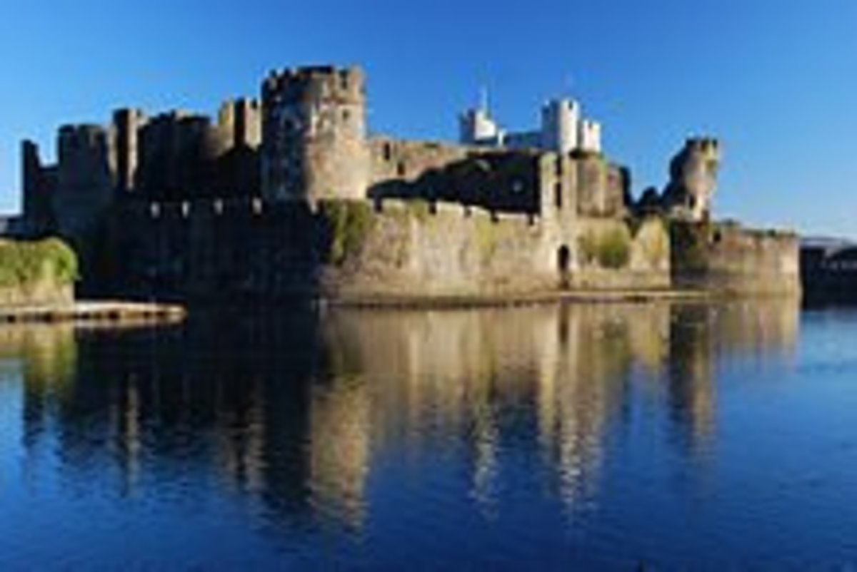 Caerphilly Castle, Caerphilly, Wales.