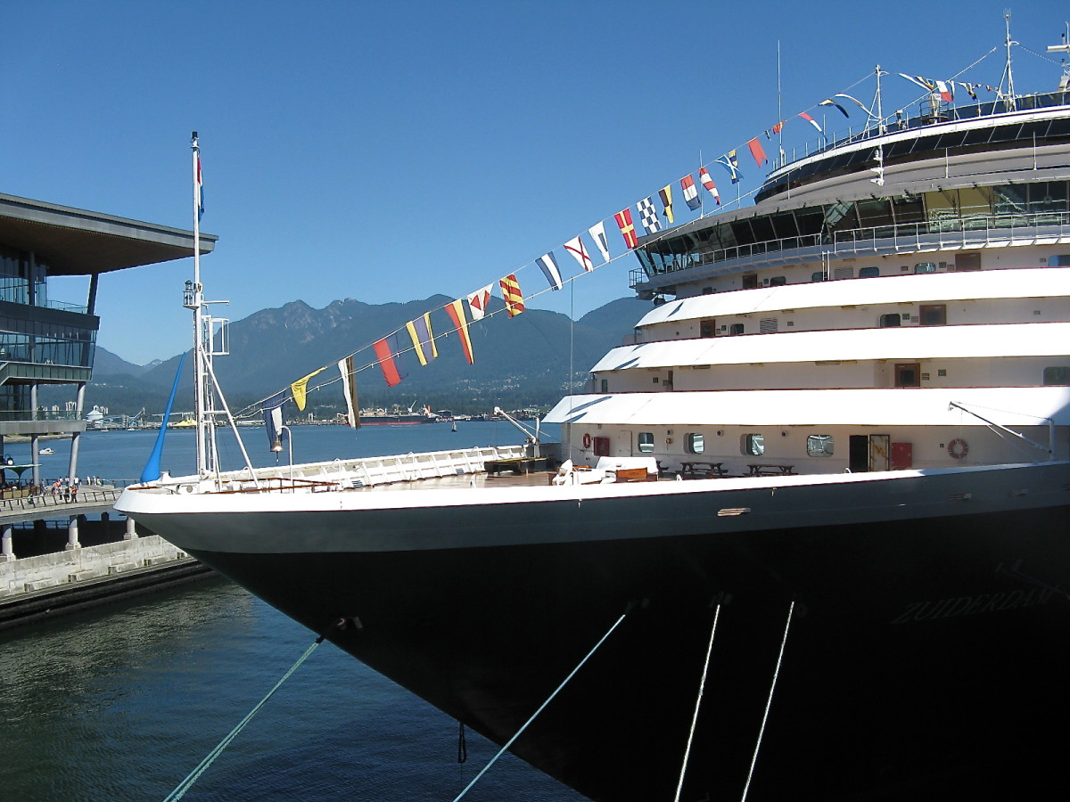 A cruise ship at the Canada Place pier