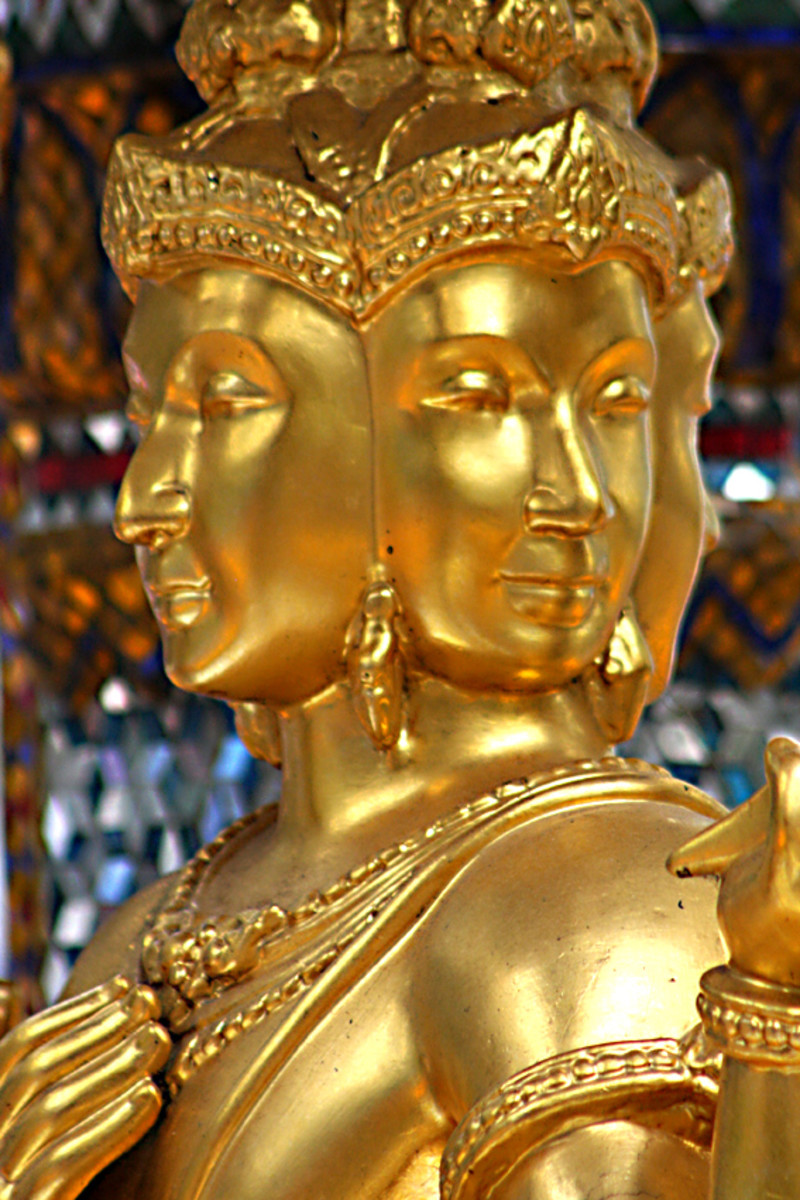 The golden four-headed Brahma statue