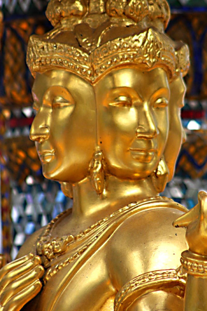 The golden four-headed Brahma statue