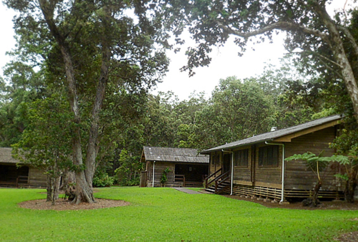 Lodging cabins are available in the park