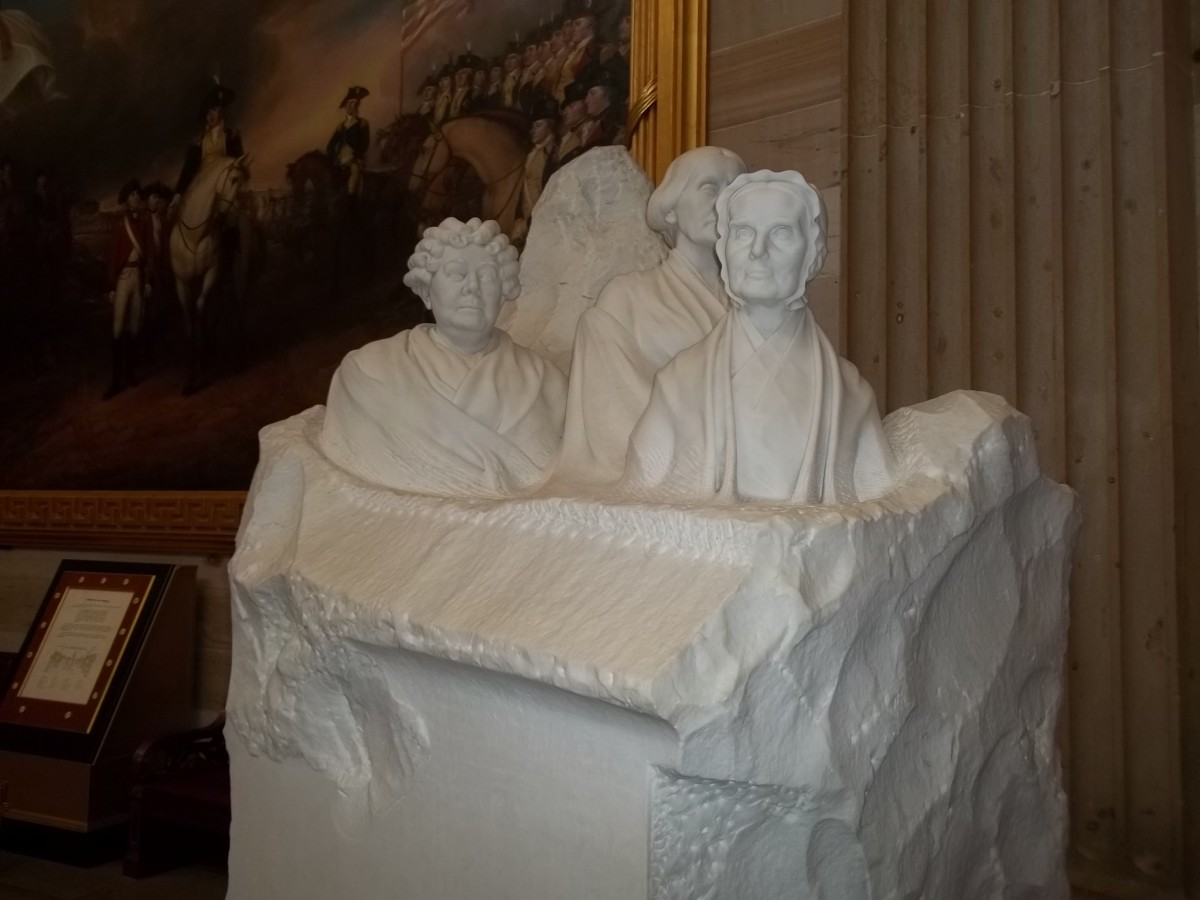 Pioneers of the women's suffrage movement monument in the U.S. Capitol Building.