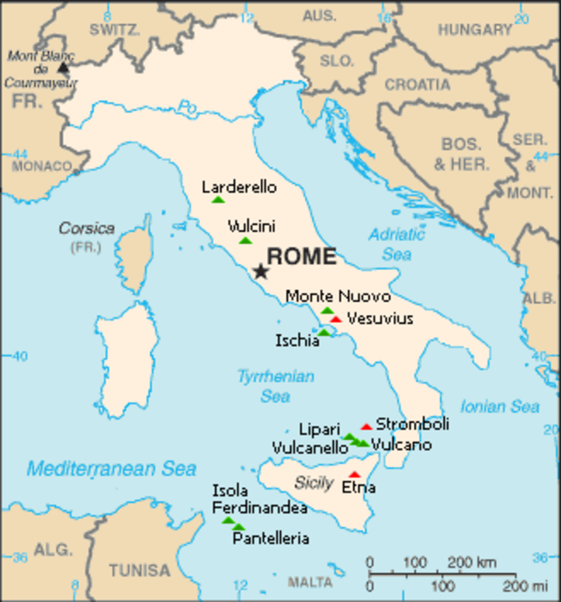 Italy's volcanoes:  Green is dormant, red is active.