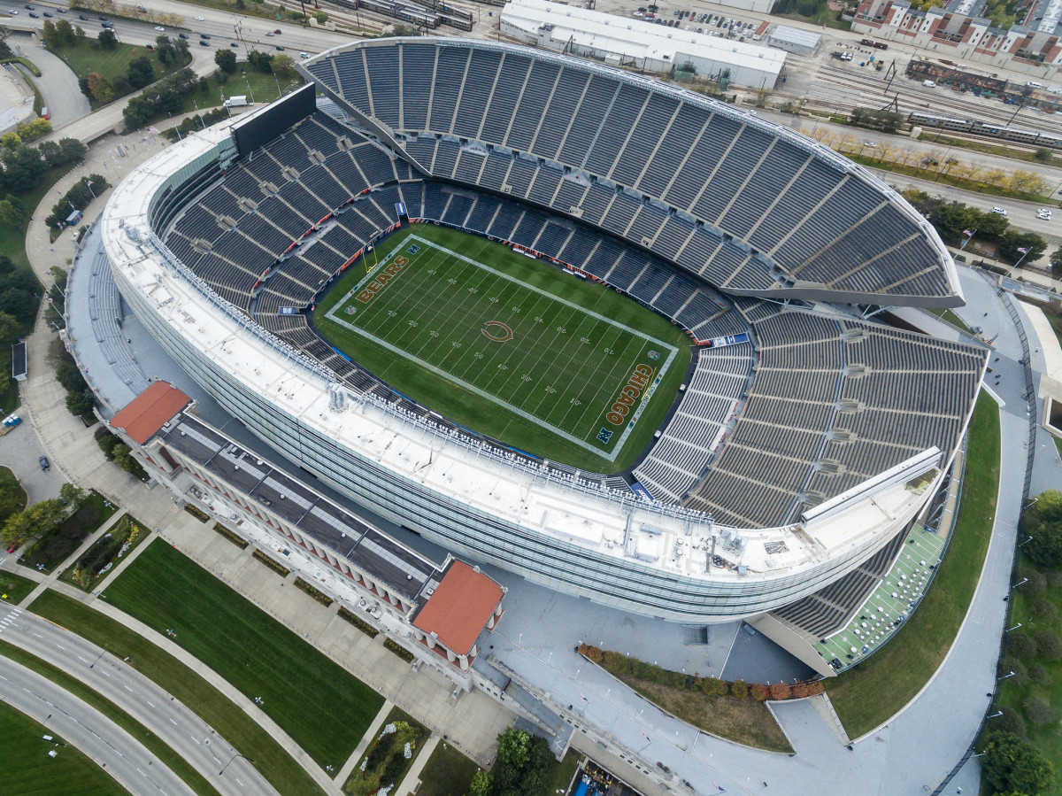 Aerial view of Soldier Field in Chicago