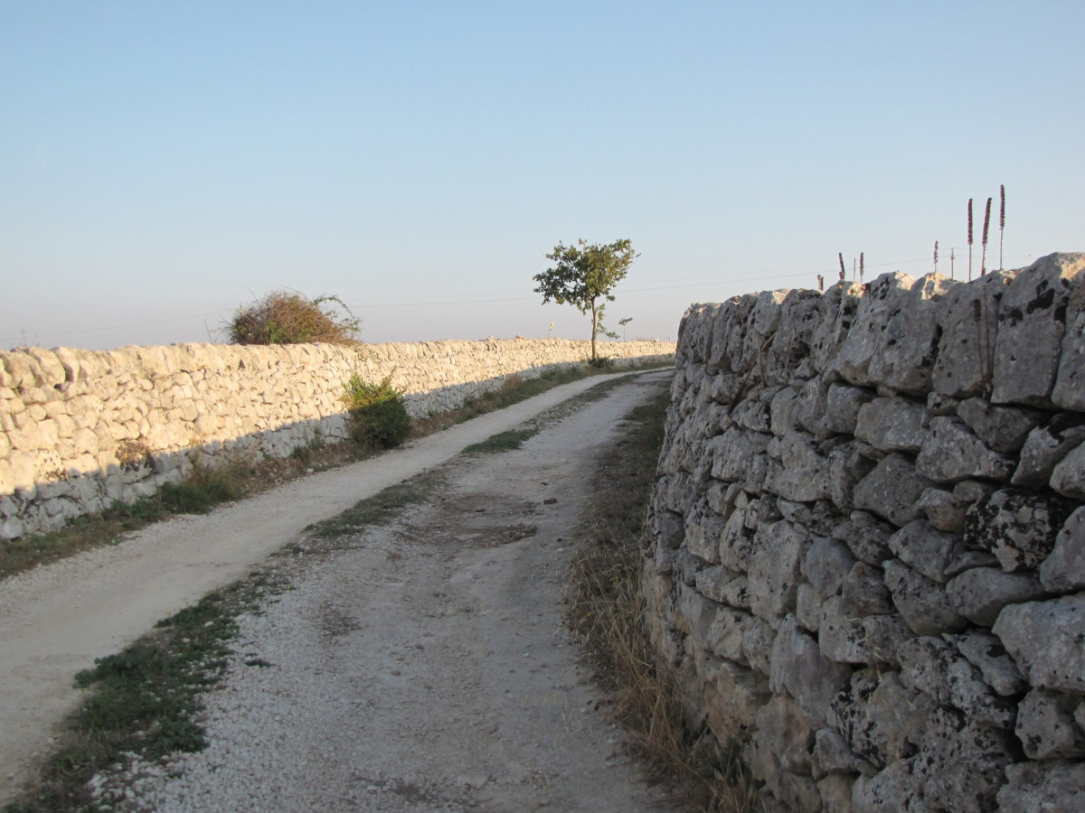 Stone wall lined roads
