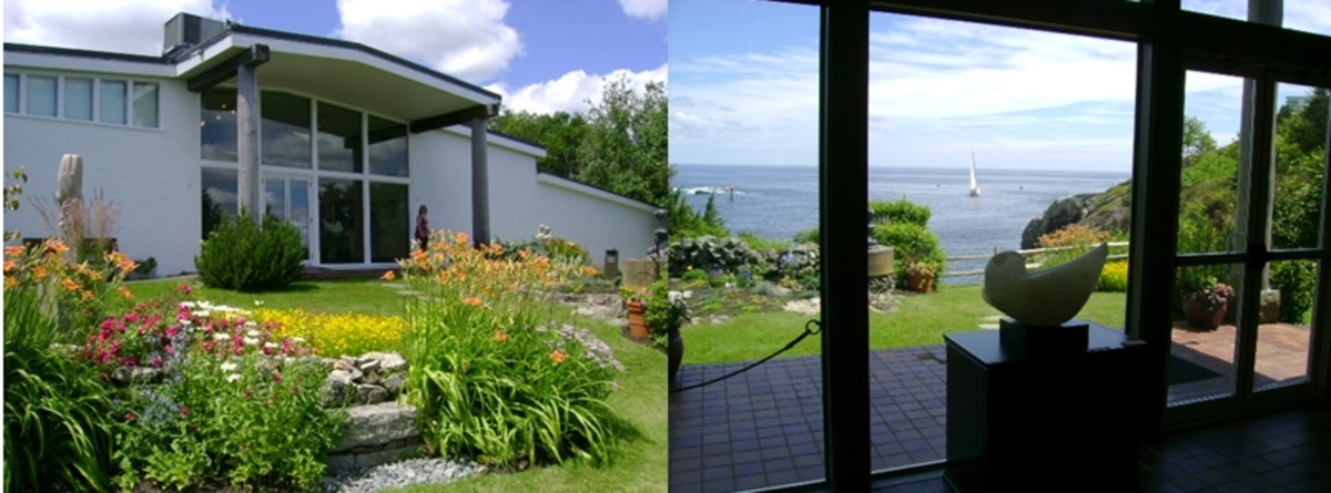 view from outside and inside at the Ogunquit Museum of American Art