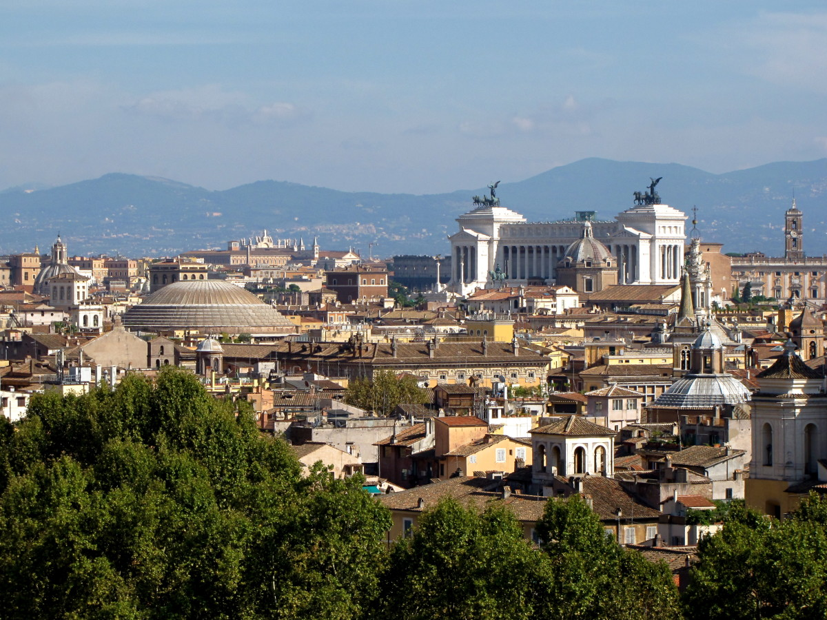 The rooftops of Rome- Pantheon to the left, Victor Emmanuel Monument.