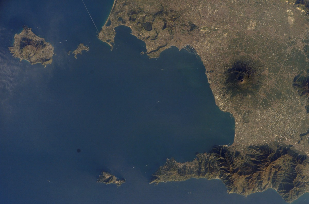 Satellite view of Mount Vesuvius