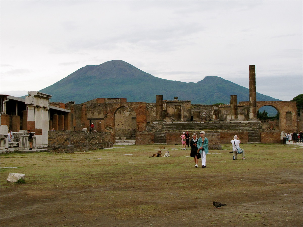 The Forum with Mount Vesuvius in the background.