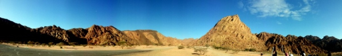 Panoramic view of Wadi al Jinn, the Magnetic Hill in Madinah