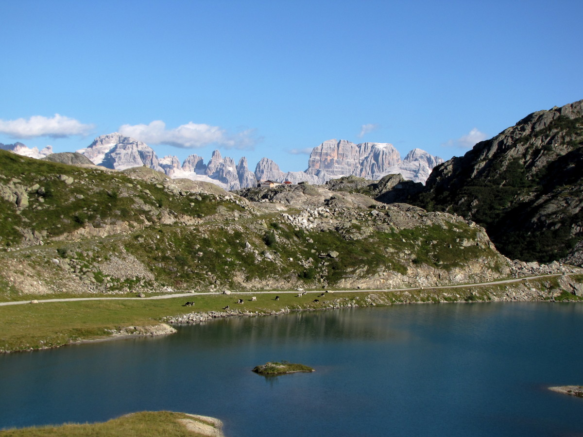Hiking on the east side of the Rendena Valley in the Adamello Presanella Mountain group.  The view is towards the Brenta Group on the other side of the valley.