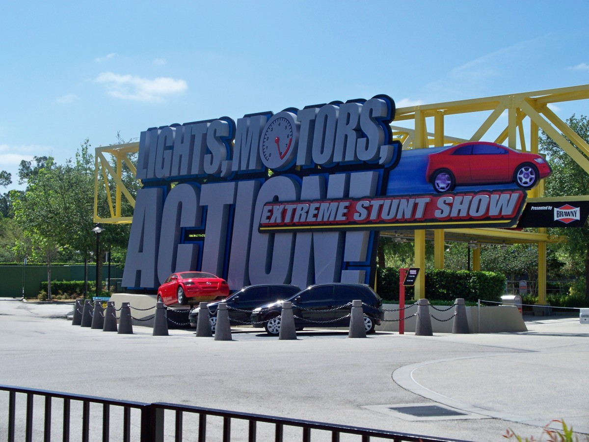 Lights, Motors, Action! Stunt Show sign