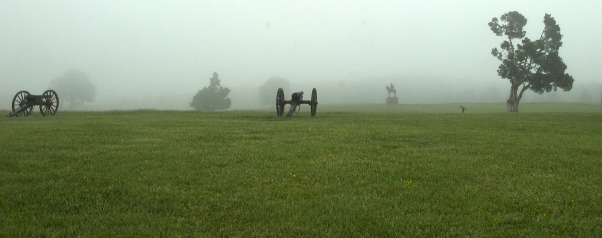 The Stonewall Jackson statue is right behind the Visitor's Center.  You can see it in the background.  I enjoy taking photographs of the cannons in the foreground and an interesting item like the statue in the background.  Fog really helps!
