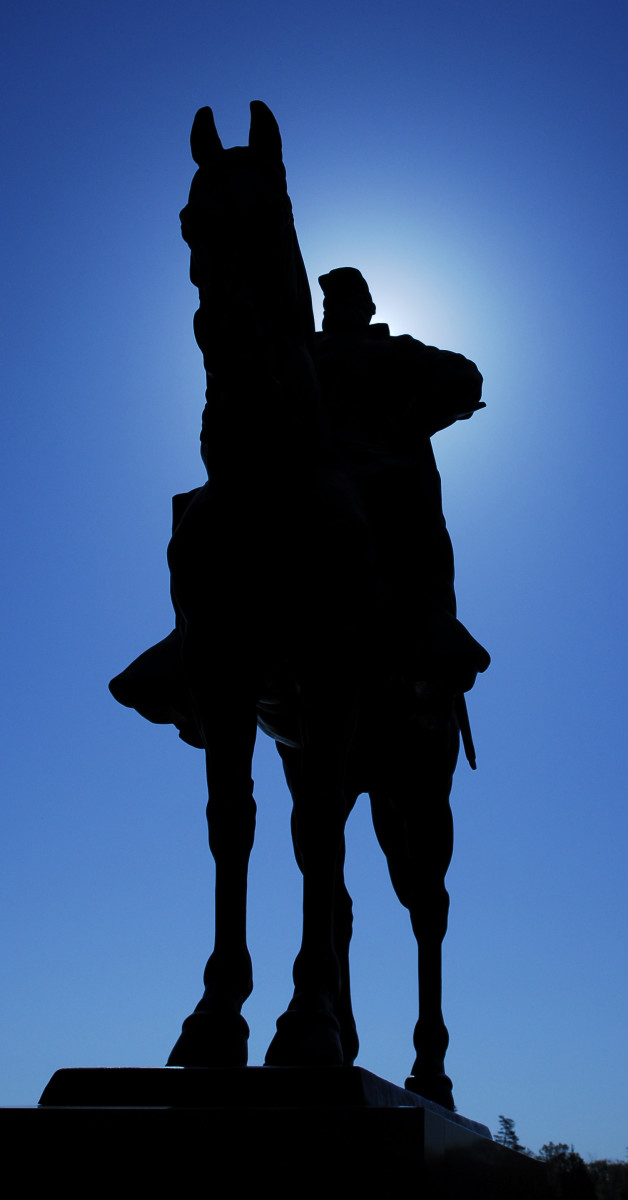Stonewall Jackson's Statue is one of my favorites.  I like the silhouette created by the sun.  Changing the f-stop would create a sunburst effect.