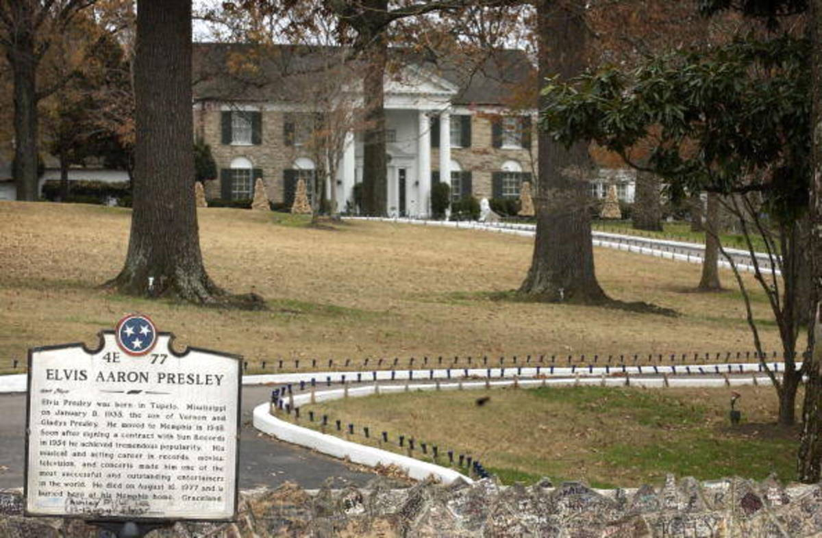 Looking up the hill at Graceland from Elvis Presley Boulevard. Graceland is listed as a National Historic Landmark and is the second most visited private residence in the United States only behind the White House.