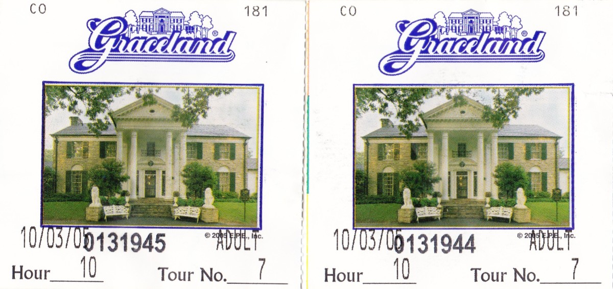 The tickets my husband and I kept from our visit to Graceland in 2005.