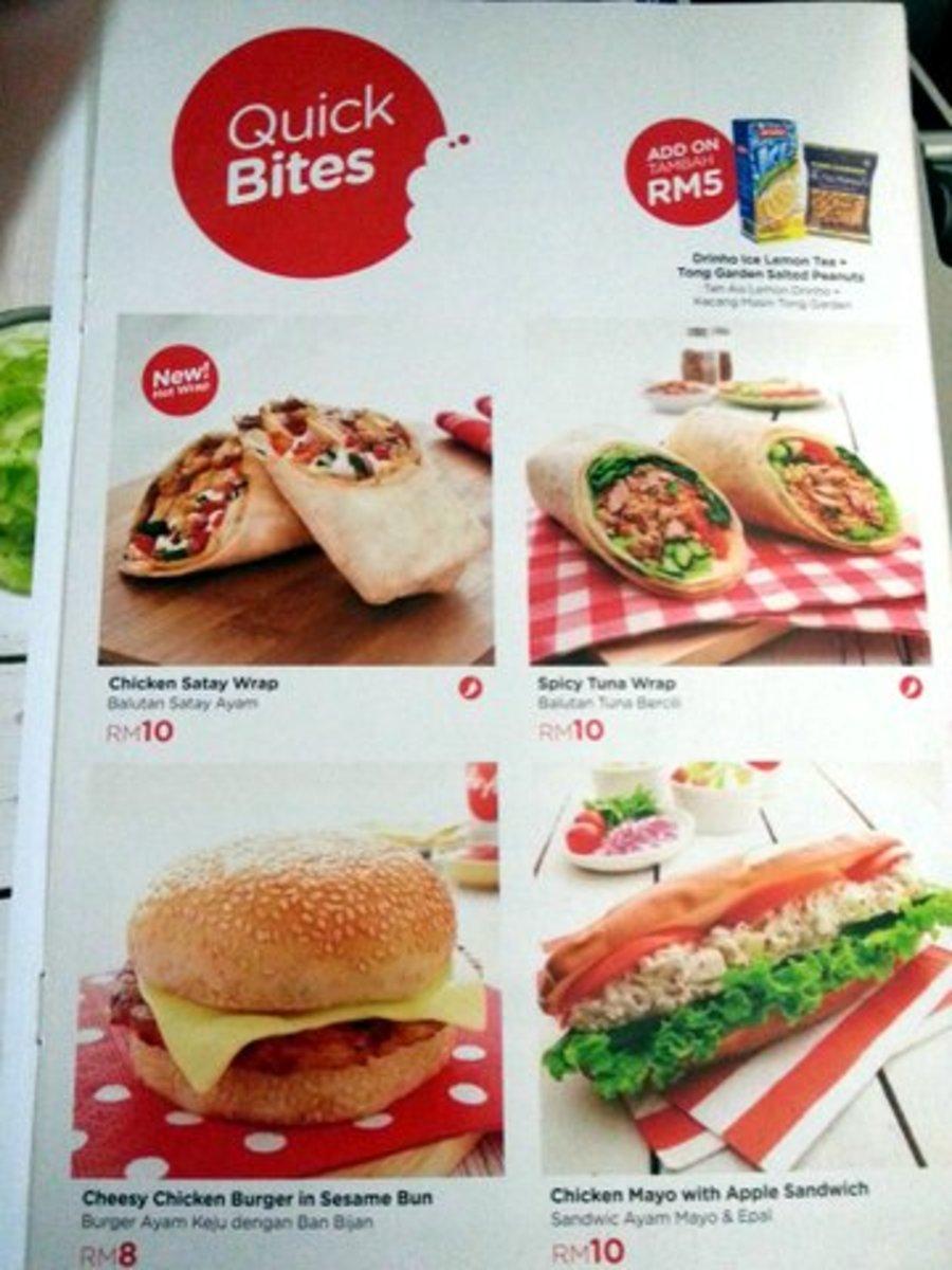 Burgers, tuna wraps etc for Quick Bites