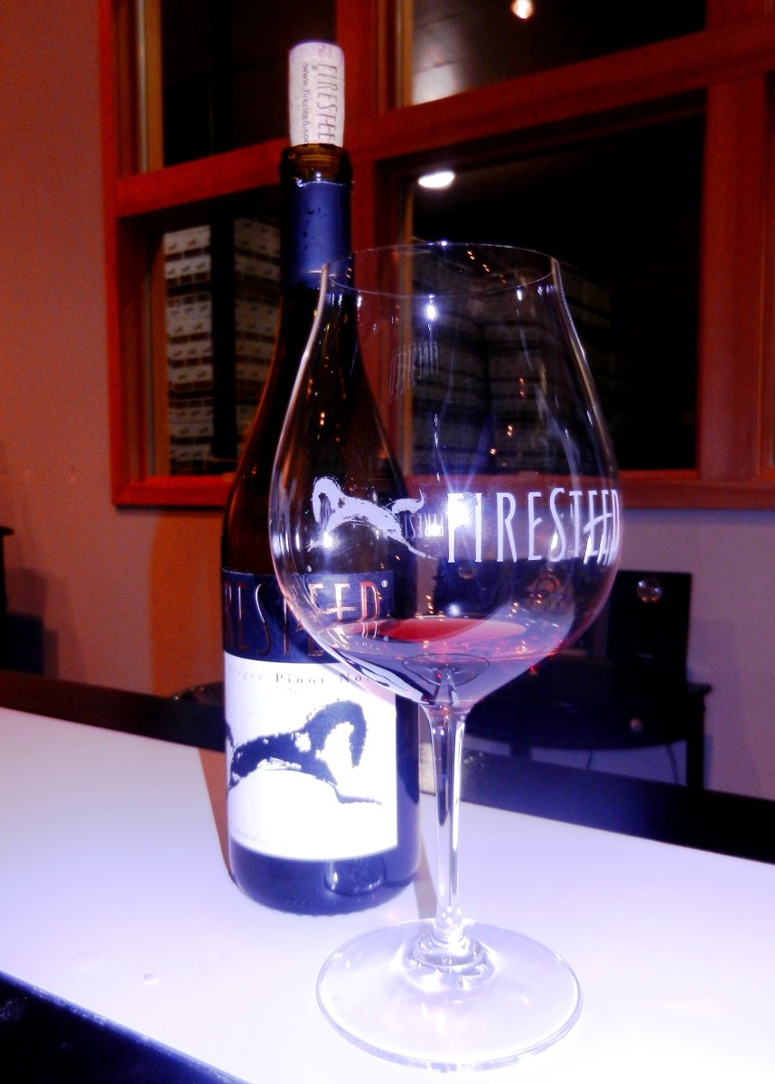 Firesteed wine and the famous wine-guzzling Pinot Noir glass.
