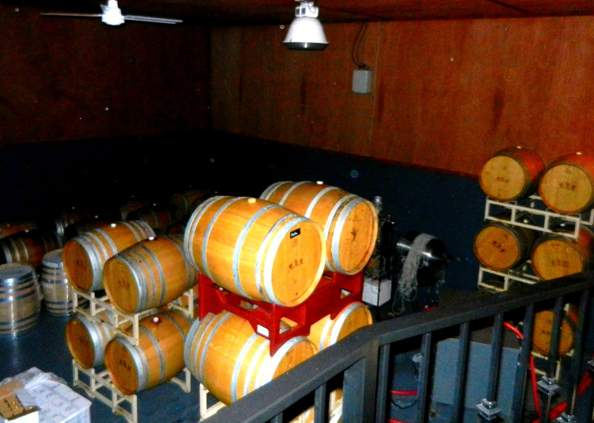 Oak casks at DePonte Winery.