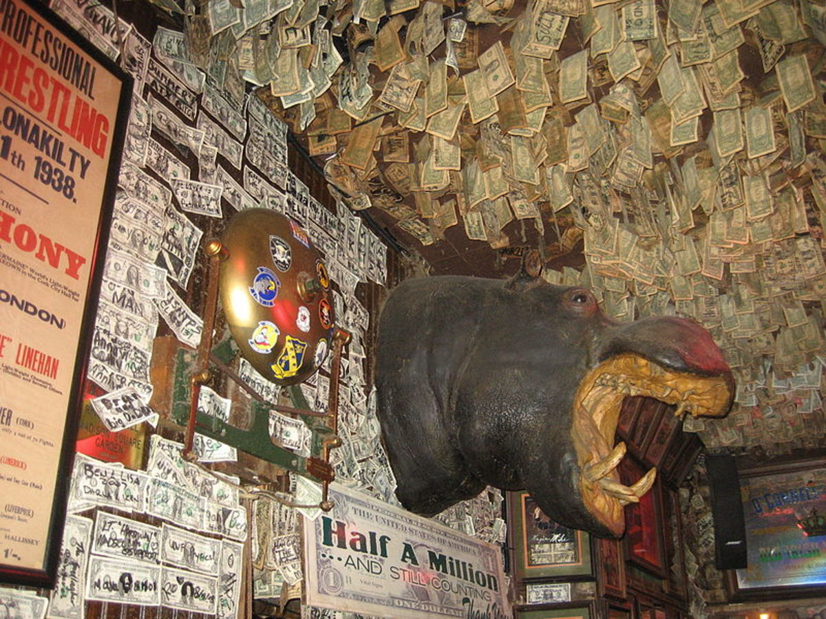 Over one million single dollar bills hang from the ceiling and walls of McGuire's.