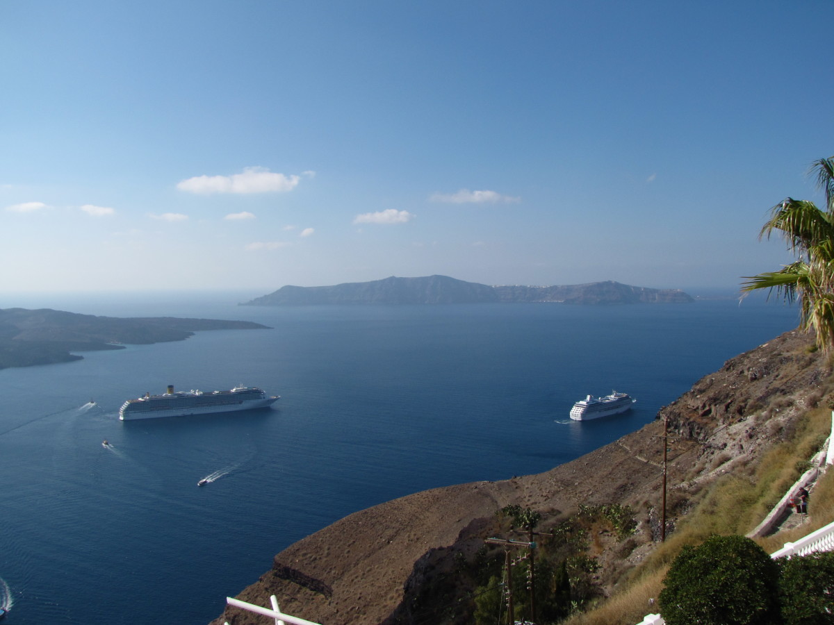 View from Fira.  That's Therasia in the distance with Nea Kameni to the left.