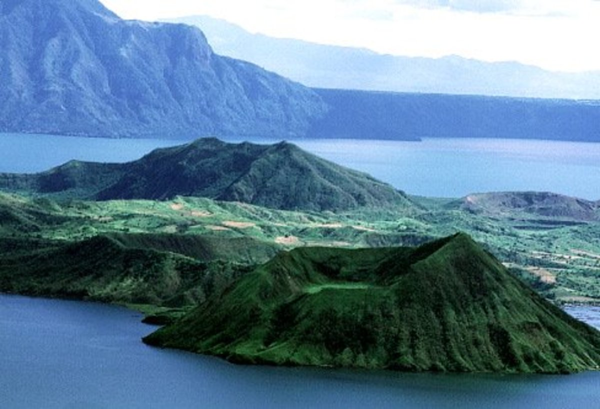 The Main lake-Taal lake with the Taal Volcano at the center-Crater lake is inside the Volcano