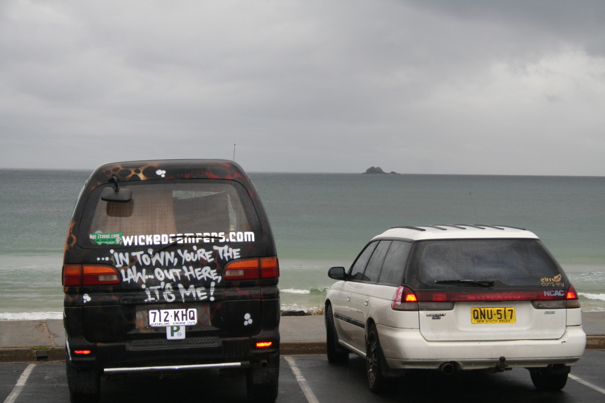 Wicked campers make a statement wherever they are. This one's by the ocean at Byron Bay on the east coast of Australia.