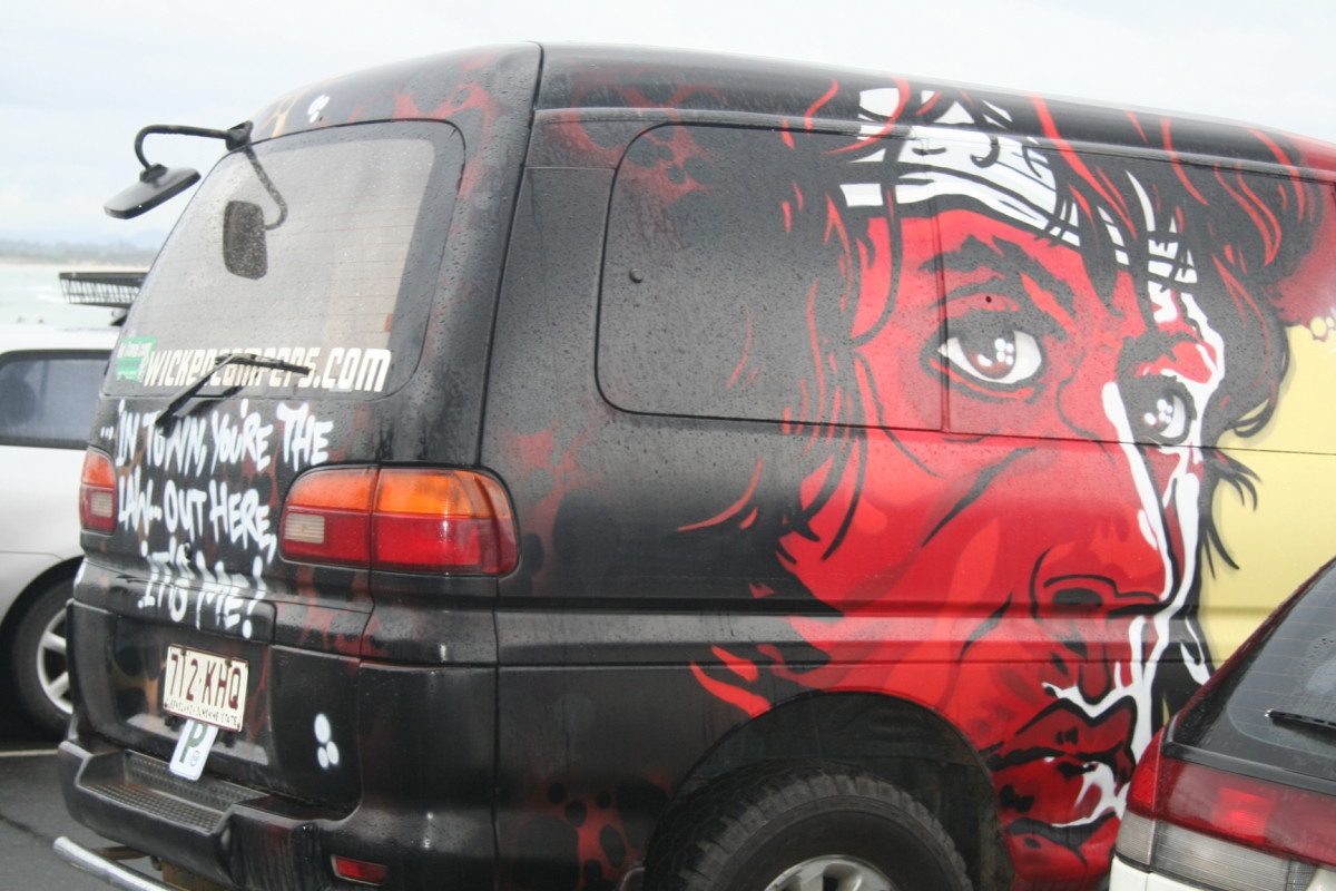 The other side of Wicked Campers' Rocky van. Same face, different style.