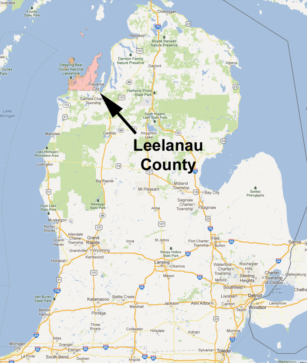 "Leelanau County (the entire Leelanau Peninsula), the ""little finger"" of Michigan's ""mitten"""