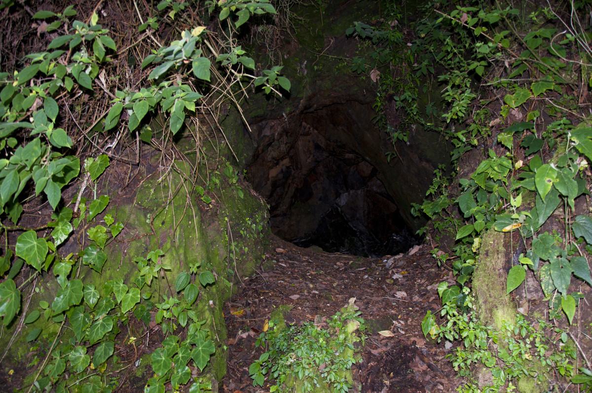 """""""Coyote Hole"""" prospector's digging.  The eternal search for mineral wealth on La Tigra."""
