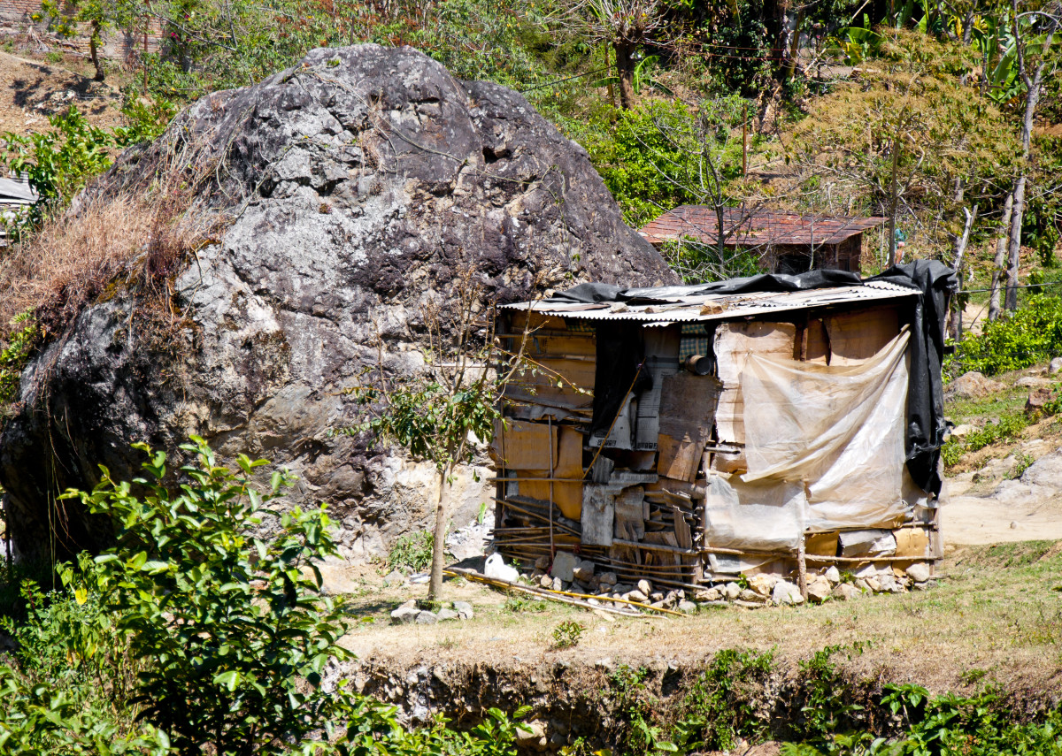 Squatters' hut built on land abandoned after Hurricane Mitch.