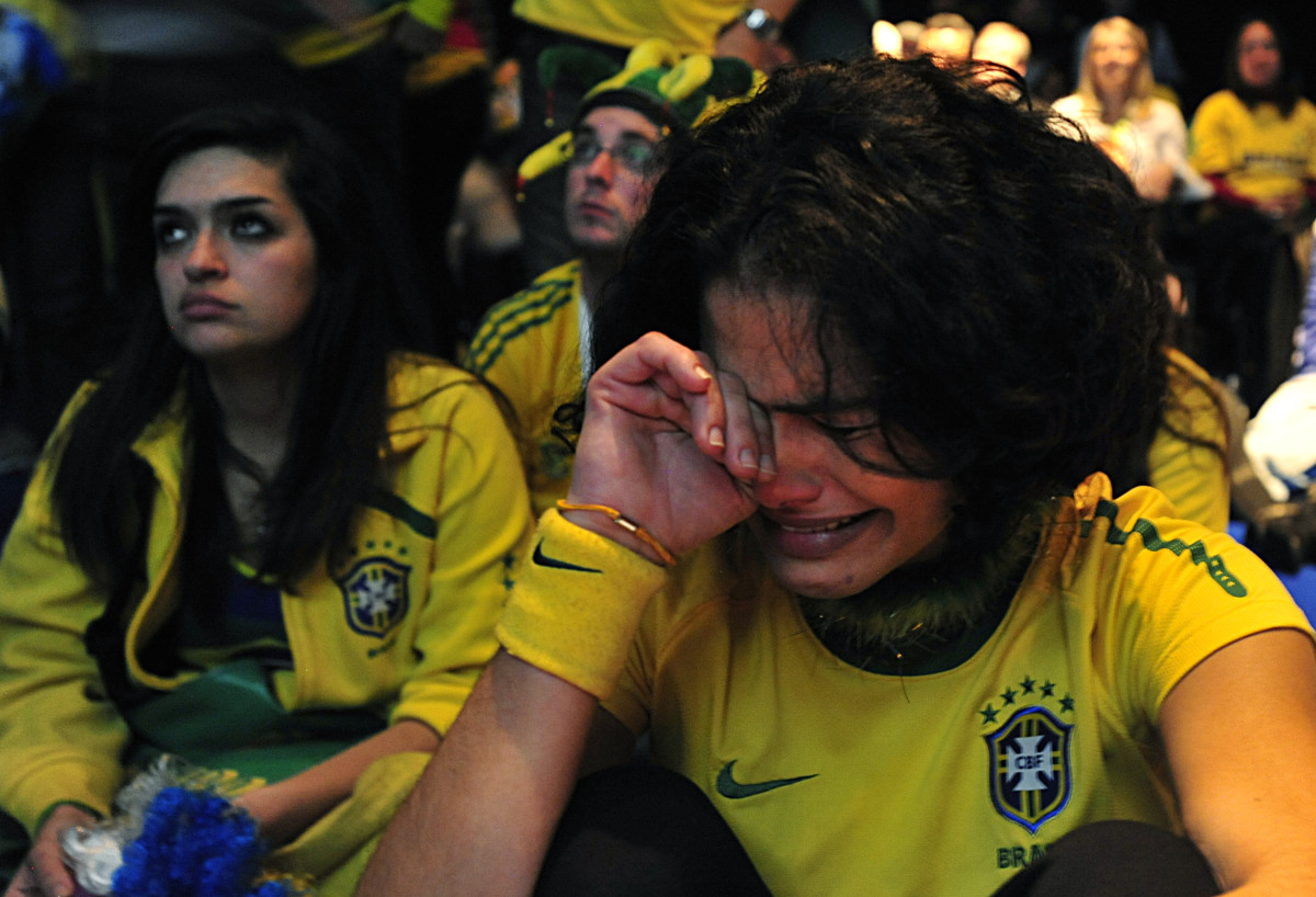 Brazilian fans in Johannesburg react to Brazil's loss to Holland in the 2010 World Cup quarterfinals.