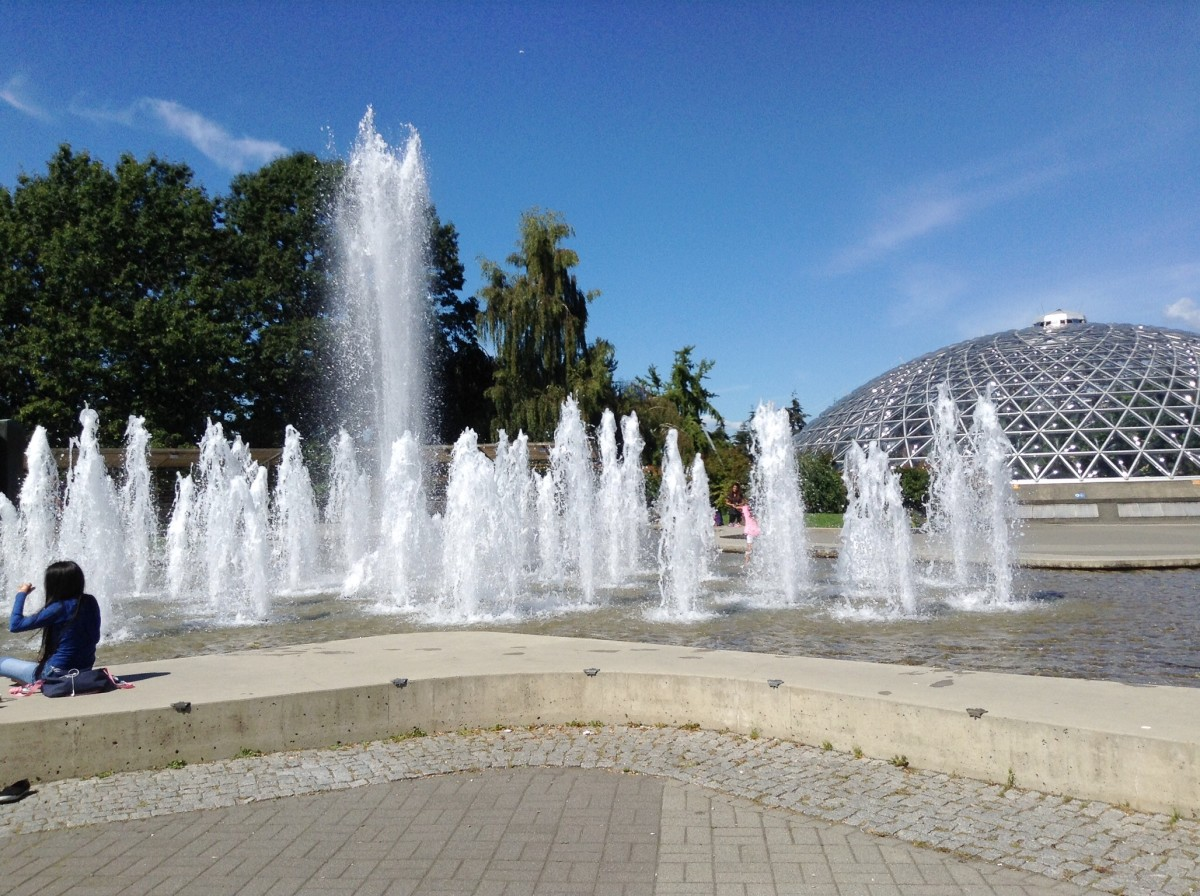 The fountain on the plaza beside the conservatory changes its appearance at frequent intervals. It's known as the Dancing Fountain.