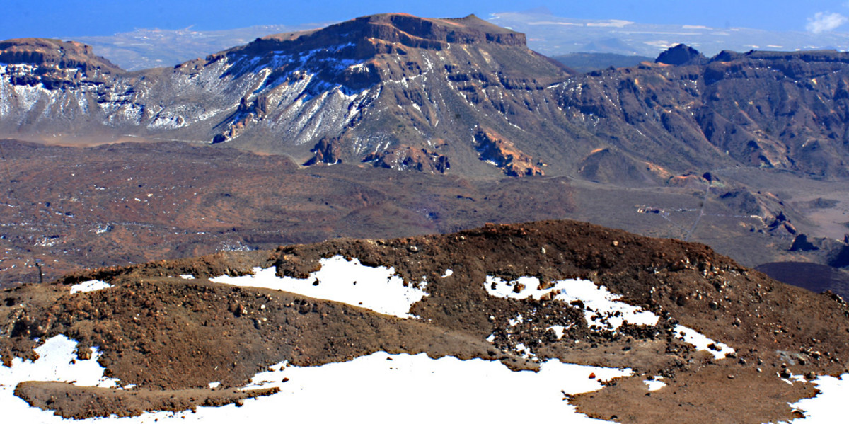 Mount Guajara and the Las Cañadas escarpment. In the foreground are the remains of a former crater of Mount teide, upon which the present cone developed