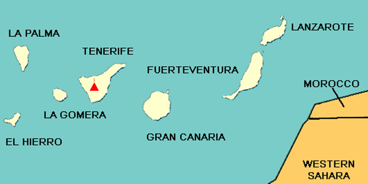 The Canary Islands in the Atlantic Ocean, and the location of Mount Teide