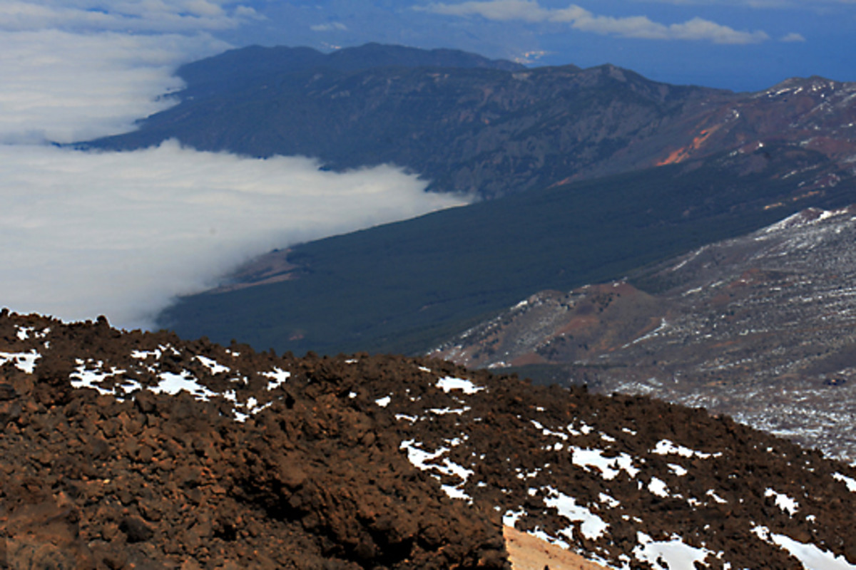 The view northeast from the upper station. Note the red lava flows in the foreground and the dark lava flow in the centre, the low cloud bank, and the 'Cordillera' Mountain Range in the distance