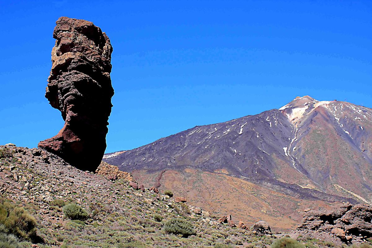 The most famous 'picture postcard' image of Mount Teide features the standing stone of Roque Cinchado in the foreground