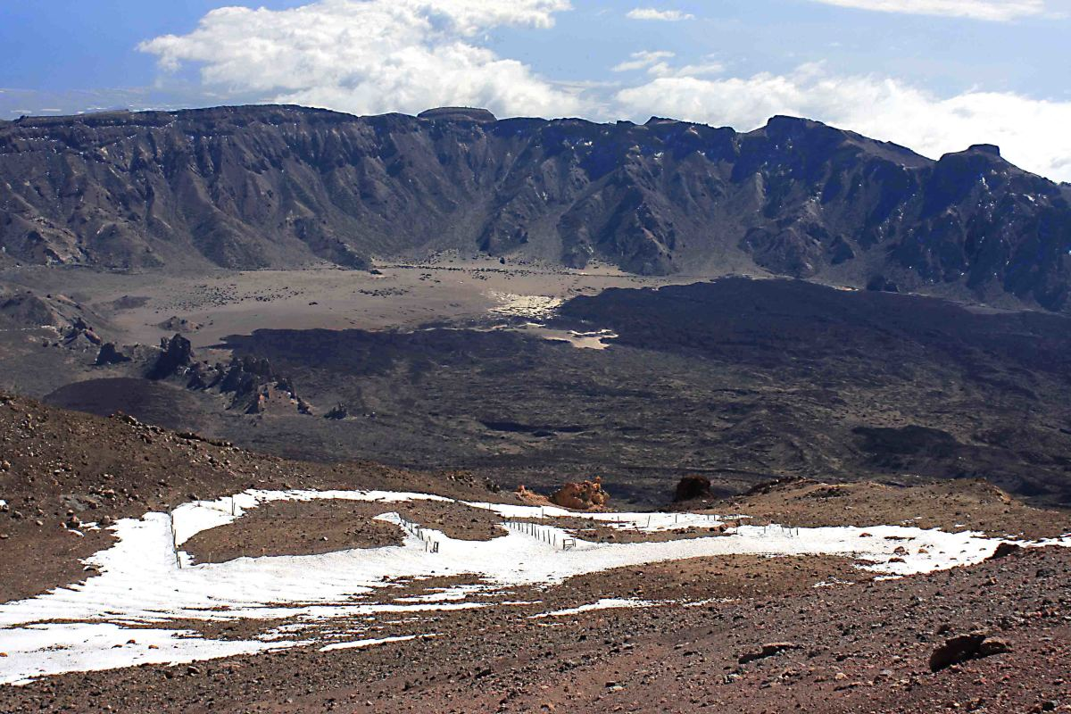 The view to the southeast from the upper station. The escarpment marks the perimeter of the Las Canadas Caldera