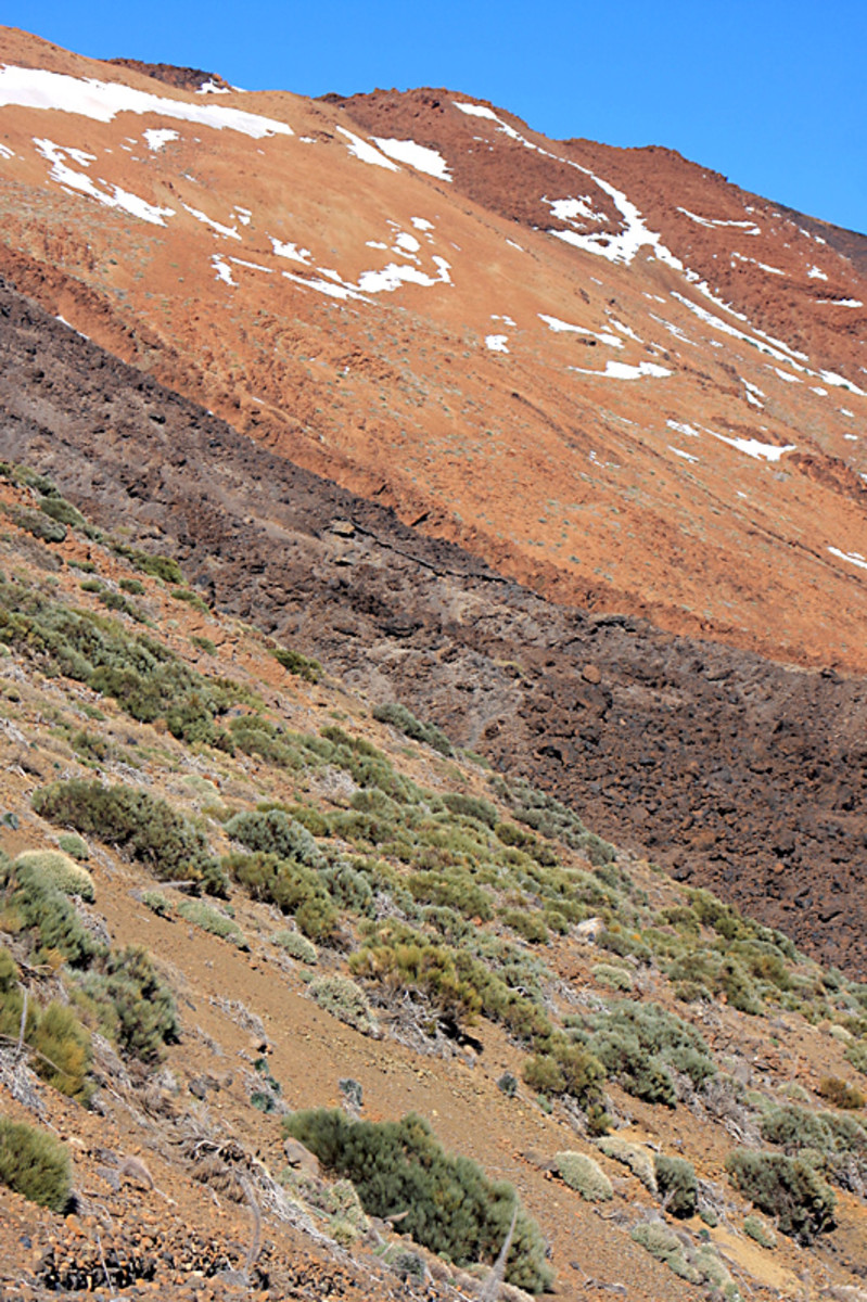 The countryside by the lower cable car station, at the foot of Montana Blanca. The dark band is lava from Teide's most recent eruption 1,000 years ago