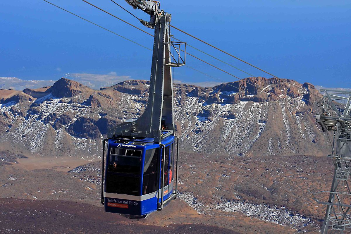 The cable car to within 200 m of the summit of Mount Teide, and the Las Canadas escarpment in the background