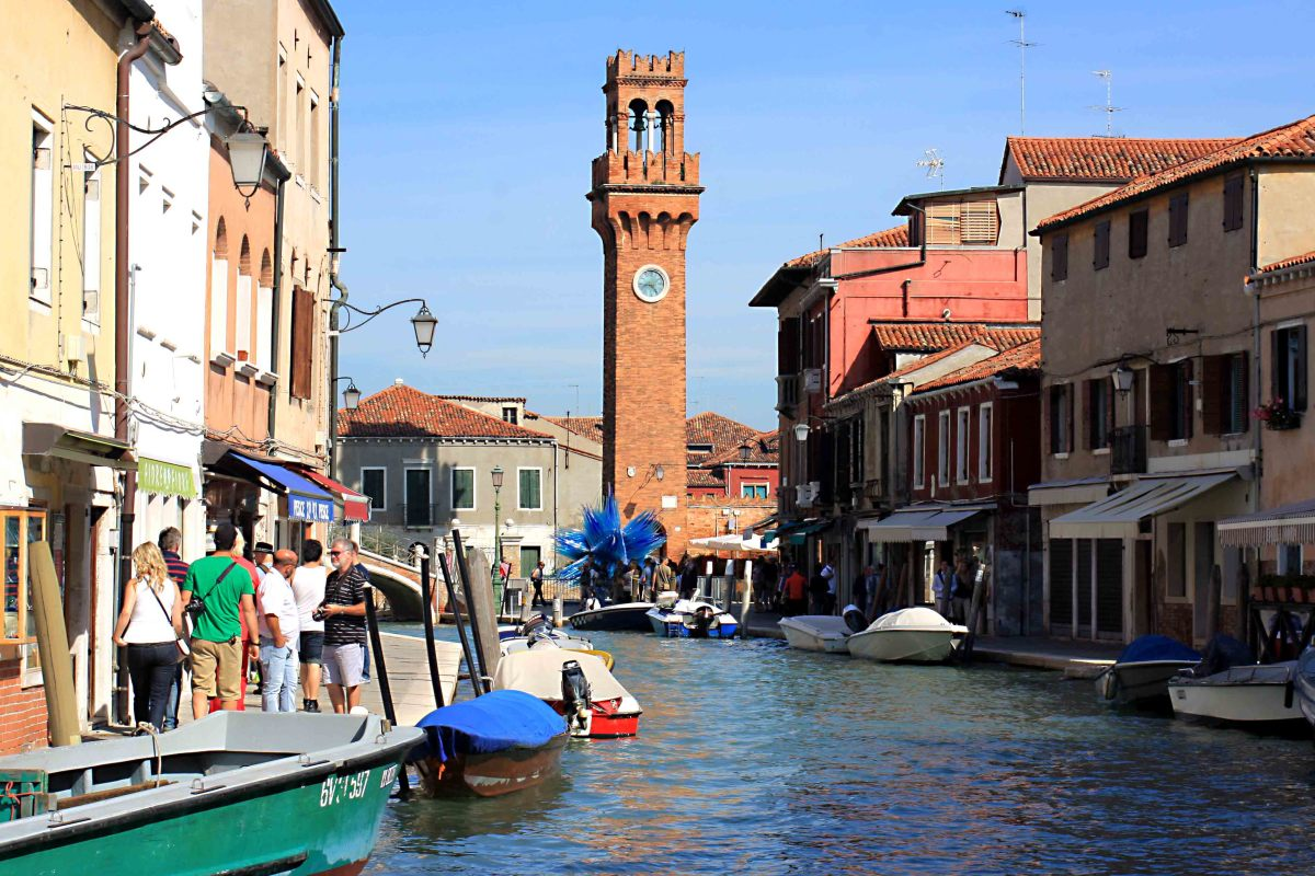 The bell tower of Campo Santo Stefano, an attraction on the Island of Murano