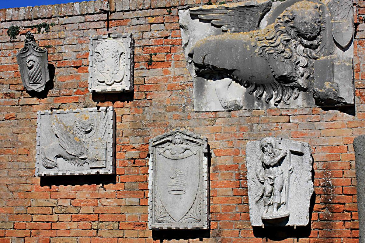 Carvings which date to the Roman period on display at the museum on Torcello