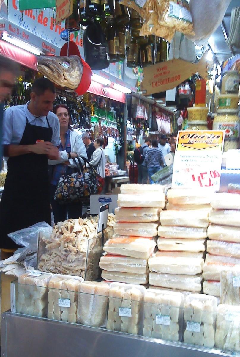 Sao Paulo market: A big pile of bacalhau.