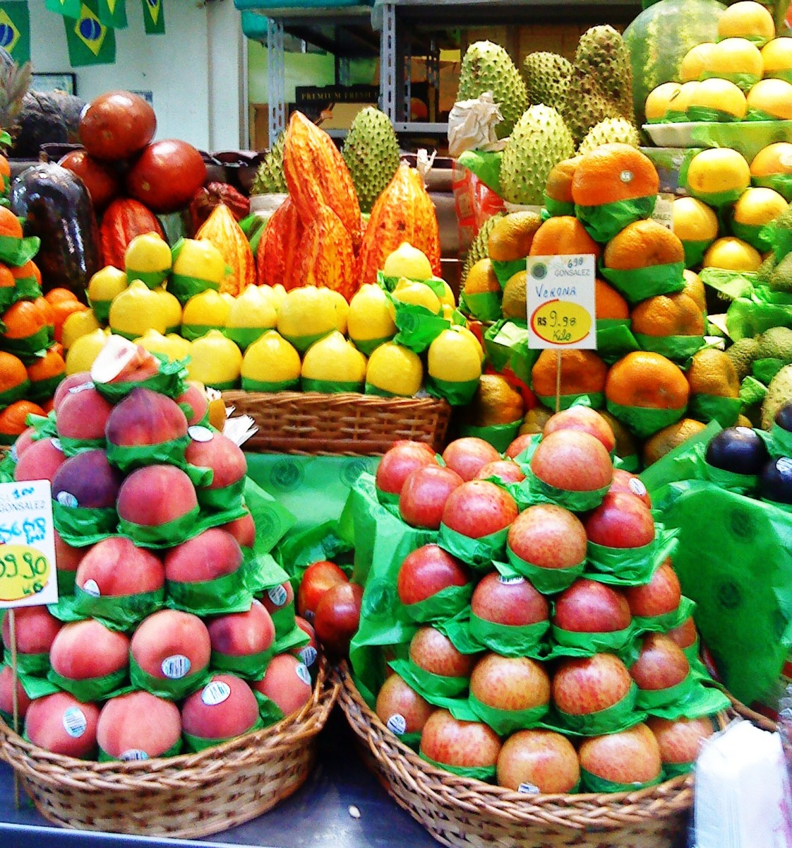 Fruits on display at Sao Paulo Municipal Market.