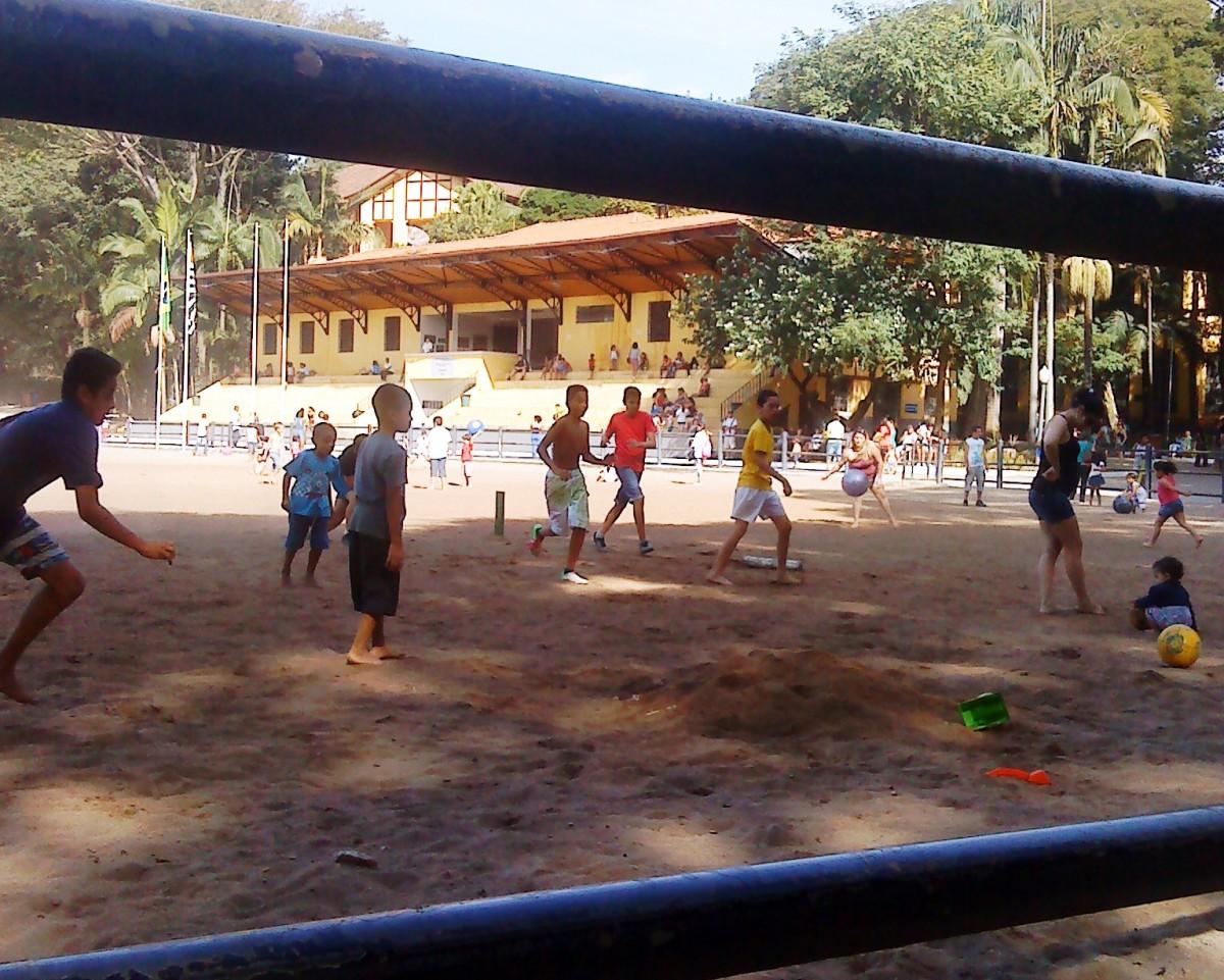 Sao Paulo boys with the football at their feet.